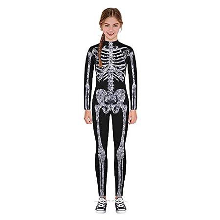 Subfamily Halloween Kostüm Kinder Skelett Jumpsuits Jungen Mädchen Unisex Overalls Maskerade Mottoparty Verkleiden Bodysuit