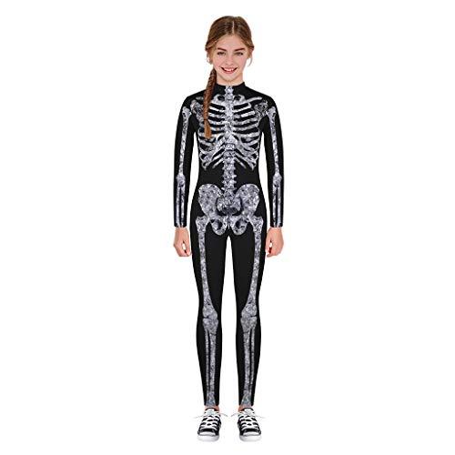 Kinder Langarm Digital Halloween Cartoon Skeleton Print Overall Overall Teen Kinder Mädchen Jungen Skull Print Strampler Overall Kleidung