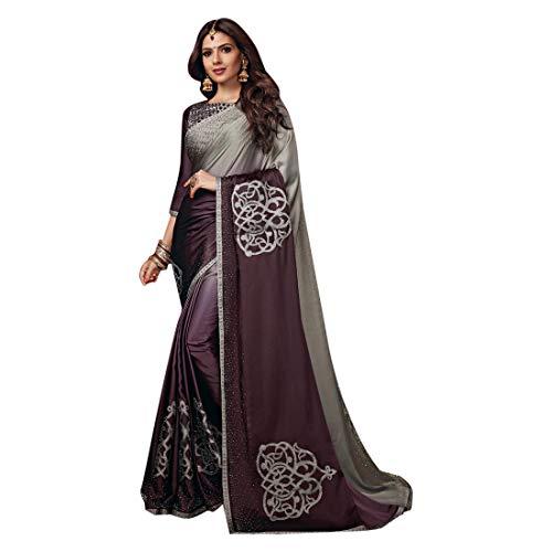 ETHNIC EMPORIUM Damen Noble Satin Swarovski Stein Arbeit Saree Schöne Bluse Sari Indische Mode-Frauen-Partei formale 8112 6,25 mtr Wie gezeigt