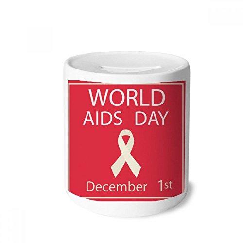 DIYthinker Rot Ribbon AIDS HIV 1. Bewusstsein Dezember-Geld-Kasten Sparkassen Keramik Münzfach Kinder Erwachsene 3.5 Zoll in Height, 3.1 Zoll in Duruchmesser Mehrfarbig -