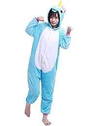 iEFiEL Pijama Divertido para Niño Niña Unisex Disfraces de Unicornio Animal Mono Pijama con Capacha Invierno Otoño Confortable Calentito