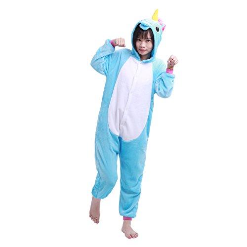 Tiaobug Einhorn Pyjamas Kostüm Jumpsuit Tier Schlafanzug Kinder Mädchen Unisex Fasching Karneval Blau 140-152