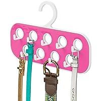 mDesign Percha para cinturones con 9 ganchos y 9 orificios – Organizador de armario para complementos – Útil como corbatero o como colgador de pañuelos y bisutería – Blanco/rosa fucsia