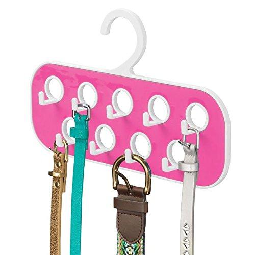 MetroDecor mDesign Percha para Cinturones con 9 Ganchos y 9 Orificios – Organizador de Armario para complementos – Útil como corbatero o como Colgador de pañuelos y bisutería – Blanco/Rosa Fucsia