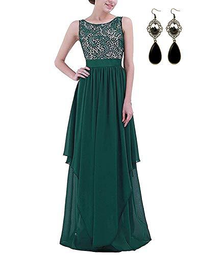 Modetrend donna elegante vestiti da matrimonio pizzo abito in chiffon lunghi vestito formale banchetto sera (l, verde)