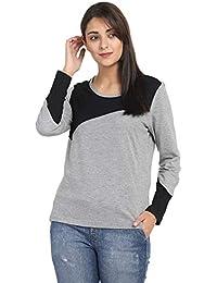 Pinaken Women's Round Neck Full Sleeve Cotton T-Shirt (Black and Grey)