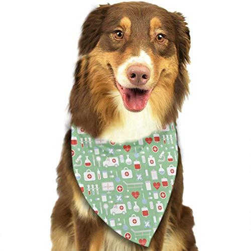 Wfispiy Medizin- und Gesundheits-Bunte Ikonen-Muster-weiche Baumwollklassische Tiere Bandana-Haustier-Hundekatze-Dreieck-Lätzchen Bejeweled Damen