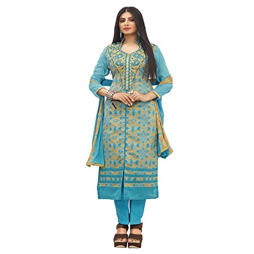 Siddeshwary Fab Long A-line Print And Embroidered Designer Salwar Suit Dress Material