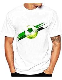 Camisa Hombre ❤️Amlaiworld Verano Moda Hombres Tees Camisa Impresión de fútbol Camiseta Blusa de Manga
