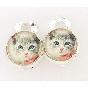 Kinder Ohrclips oder Stecker Kätzchen 10mm Motiv Mädchen Cabochon Ohrringe handgefertigt by Schmuckphantasien in silber auch als Ohrstecker handmade clips for kids Katze Katzenkind