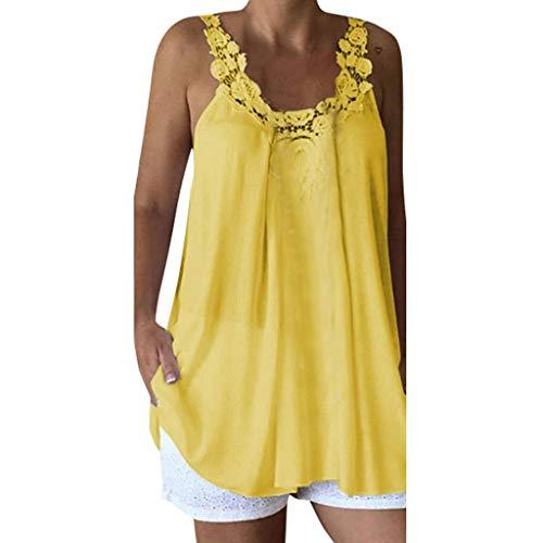 Qingsiy Tops Mujer Fiesta Camisetas Camisola Sin Manga Casual Moda Mujer Camisetas Mujer Verano Blusa Mujer Sport Tops Mujer Verano Camisetas Mujer Fiesta Elegante Camisetas (Amarillo,XXXL)
