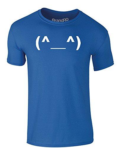 Brand88 - Happy Emoticon, Erwachsene Gedrucktes T-Shirt Königsblau/Weiß