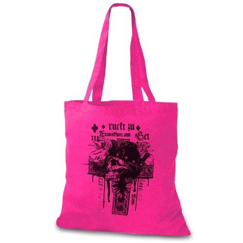 StyloBag Jutebeutel Bad Skull Cross Stofftasche Pink