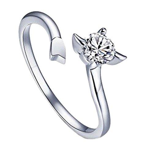 Versilbert Sternzeichen Schütze Ring Größe 17 1/4 (De) 7 (Us) Einstellbare Öffnen Tierkreis Strass Daumen Damen Wickeln (Schütze Ringe)
