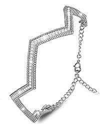 MARENJA-Regalo San Valentín Pulsera Mujer de Moda-Forma de Línea-Joya Chapada en Oro Blanco con Cristal