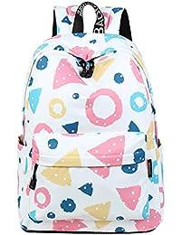 ca987f19168e7 Lumanuby 1x Bunt Kreis und Dreieck Rucksack Wasserdicht für Jugendliche  Große Kapazität Backpack Polyester für Schule