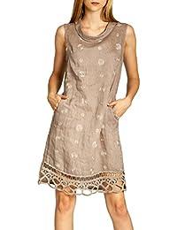 a8991d16663e CASPAR SKL019 lässiges knielanges Damen Sommer Leinenkleid mit Kragen und  aufgestickten Punkten