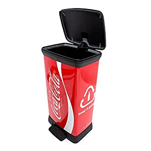 Curver 2045101 Poubelle de Recyclage Décoration Coca-Cola Plastique Finition Métallique Multicolore 50 L