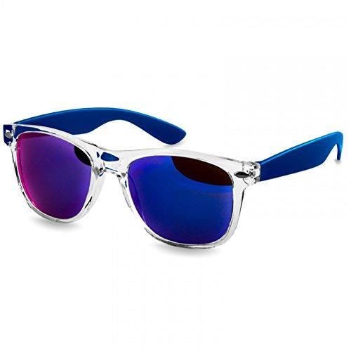 Caspar SG017 Damen RETRO Design Sonnenbrille, Farbe:blau/blau verspiegelt