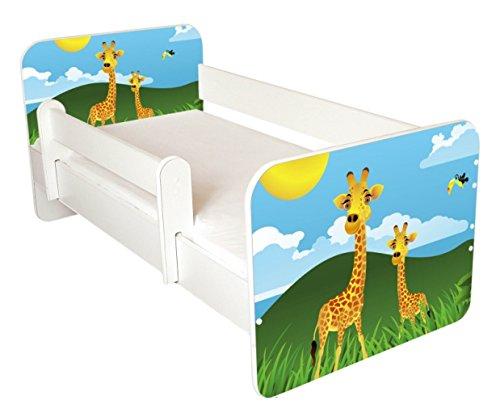 Kleinkinder Bett mit gratis Matratze, holz, White Gree Yellow, 140x70