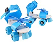Children Adjustable Double Row Skating Patins Four Wheels Skates Shoes Children Gifts Size 25-32 (Blue)
