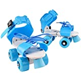 Vosarea Children Adjustable Double Row Skating patins Four Wheels Skates Shoes Children Gifts Size 25-32 (Blue)