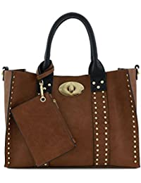 3Pc Set Studded Turn Lock Tote Bag With Crossbody (Brown/Black) By Alyssa