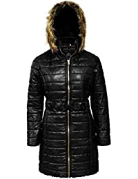 74e6381144941 Fashion Oasis New Ladies Shiny Wet Look Women s Long Quilted Fur Hooded Jacket  Coat