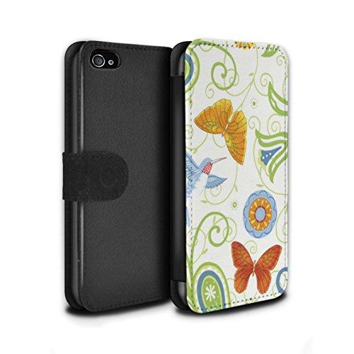 Stuff4 Coque/Etui/Housse Cuir PU Case/Cover pour Apple iPhone 4/4S / Pack 12pcs Design / Printemps Collection Vert/Blanc