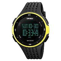 FeiWen eenvoudige plastic horloges voor heren, dames en jongeren, outdoor sporthorloge LED digitaal horloge 50 m waterdicht polshorloges met rubberen band multifunctionele LED-verlichting alarm countdown