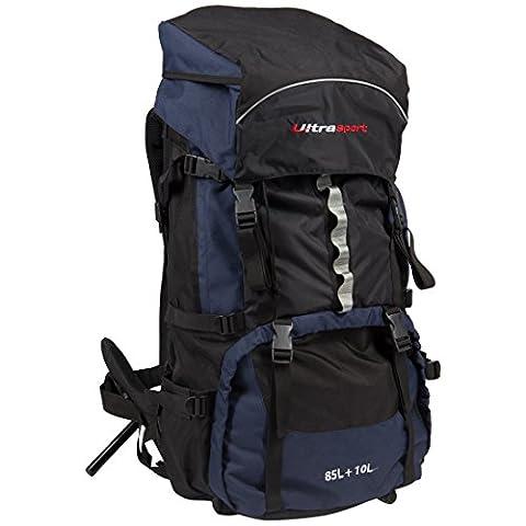 Ultrasport Sac à dos de randonnée 85+10l, housse anti-pluie intégrée, Bleu / Noir