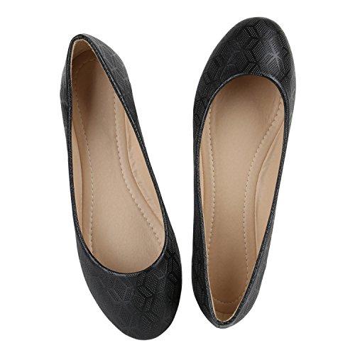 Sapatos Couro Senhoras Apartamentos Bailarinas Óptica Tamanhos Impressões Preto Clássico Lazer De A Sobre zw6Axf