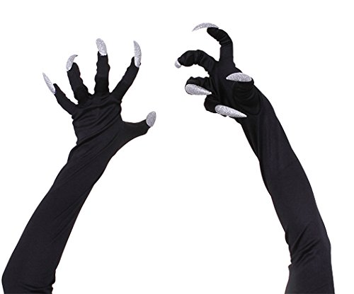 , Outgeek 1 Paar Halloween Handschuhe Furchtsame Attached Lange Fingernägel Halloween Kostüm Zubehör (Kostüme Fingernägel)