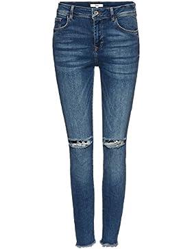 FIND Damen Verkürzte Skinny-Jeans mit dekorativen Rissen und dunkler Waschung