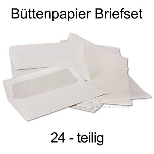 Set da scrittura in vera carta fatta a mano, 24 pezzi: fogli din a4 e buste lunghe imbottite formato din, colore bianco.