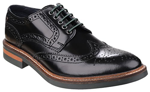 Base London Woburn Hi Shine Black Leather New Mens Formal Brogue Casual Shoes Boots-10