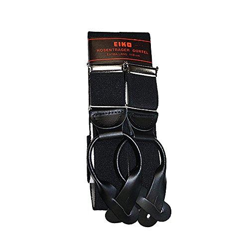 Eiko Hosenträger mit Lederbiesen zum Knöpfen, schwarz, 110 cm (Knöpfe Schwarze Riemen)