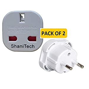 ShaniTech Pack Of 2 UK To Europe Euro Travel Adaptor Suitable For France, Germany, Spain, Egypt, China Refer To Description For Country List