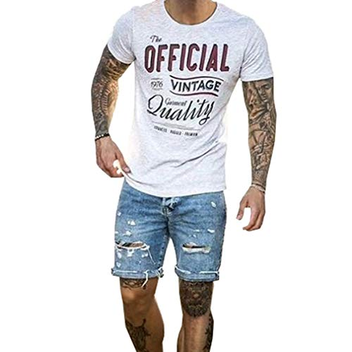 Hongxin Herren Destroyed Jeans Ripped Loch Kurze Hose Stretch schlanke Passform Regular Denim Shorts Sommer Freizeithose Jeansshorts