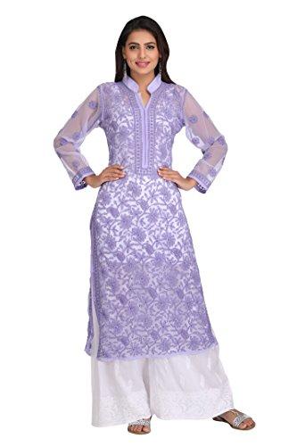 ADA Lucknowi Chikankari Handmade Casual Wear Kurta Kurti Faux Georgette A224015