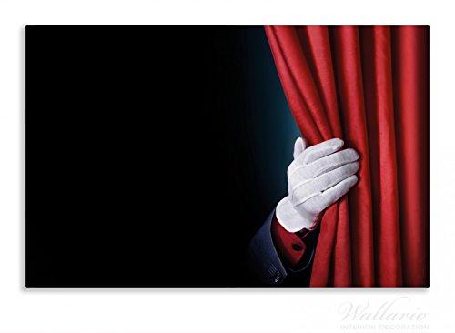 Wallario Herdabdeckplatte / Spritzschutz aus Glas, 1-teilig, 80x52cm, für Ceran- und Induktionsherde, Motiv Vorhang auf für die Show Hand hinterm roten Vorhang