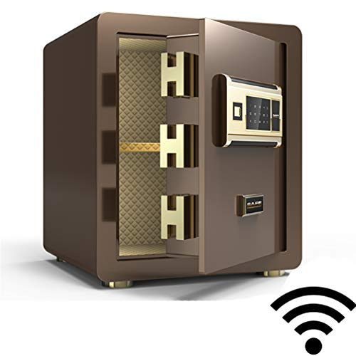 HMYLI Schlüsselkasten mit zahlencode, Tresore Mechanisches Passwort Aufbewahrungsfach Stahl Große Kapazität Unsichtbarer Safe WiFi Fingerabdruck entsperren,Coffeeb