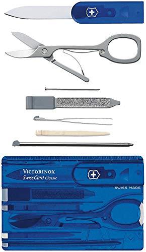 Victorinox Taschenmesser Swiss Card (10 Funktionen, Schere, Kugelschreiber) blau transparent -