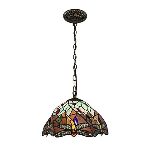 Tiffany 12-Zoll Europäische Vintage-Stil Glasmalerei Libelle und Perle Warm Farbige Serie Deckenleuchte Pendelleuchte Esszimmer Licht