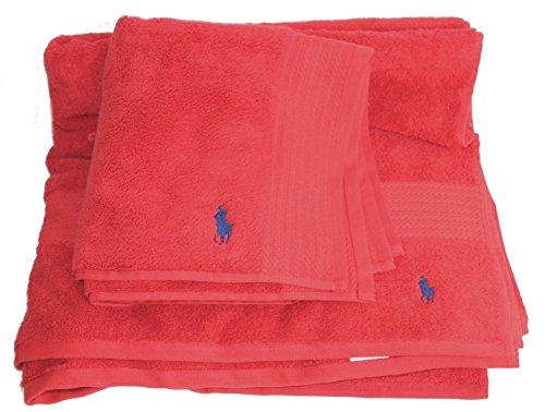 Polo Ralph Lauren Handtuch-Set von 2Rot Badetuch Fußmatte Kreolen, Rot, Einheitsgröße (Ralph Lauren Badetücher)