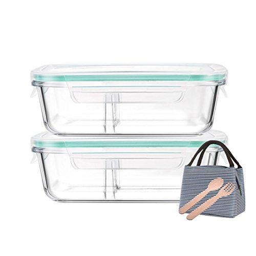 Levoberg Frischhaltedosen Glas 2er Set Lunchbox mit fächer Glas Vorratsdosen, mit klick-Deckel, umweltfreundliches Besteck und Lunch-Tasche, 2 fächern und 3 fächern
