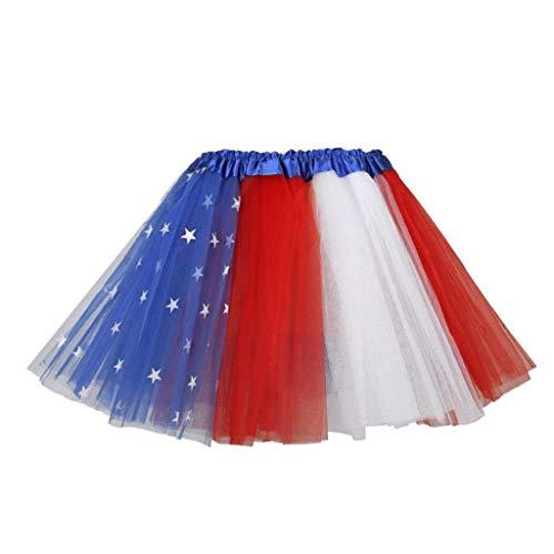 nische Flagge DREI Schichten Tutu Rock Pentagramm Stern 4. Juli Unabhängigkeitstag Party Bühne Kleid Halloween Kostüm 2-14 T ()