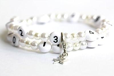 Bracelet d'allaitement de couleur blanc et ivoire claire en acrylique
