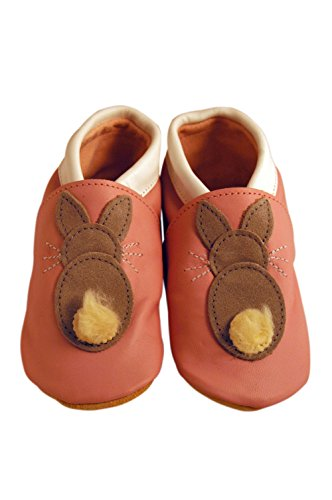 Three Little Imps Handgemachte weiche Kleinkind-Schuhe aus Leder Ð Springender grauer Hoppelhase auf pinkem Hintergrund 18 - 24m (RBPW) rosa