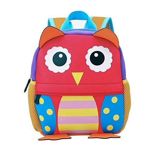 Kinderrucksack Bunter Leichter Wasserabwesender und Moderner Babyrucksack Süßer Cartoon Tier Design Eule auf der Schultasche für Kinder 3-6 Jahre Alt für Junge und Mädchen (Eule) Gb-meter